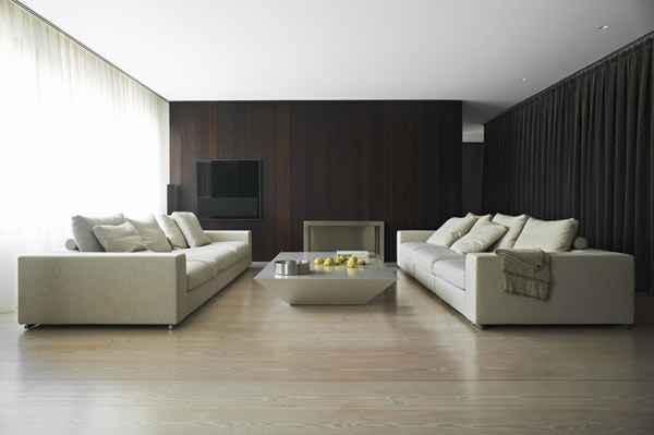 diseo de interiores con cortinas al estilo minimalista
