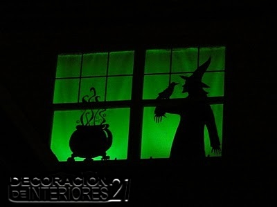 Decoracion ventana halloween luces verdes