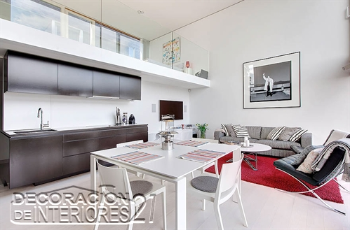 Mezzanine moderno en ambiente  de apartamento pequeño(14)
