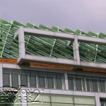 Decoración de interiores de la cámara de comercio de Eslovenia utilizando estructuras y plantas