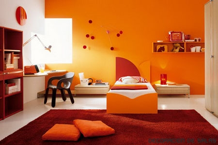 Decoracion infantil color naranja - Base de cama color naranja