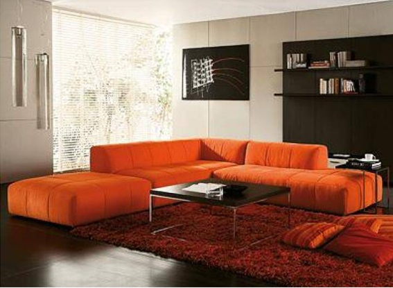 sala-sofa-color naranja