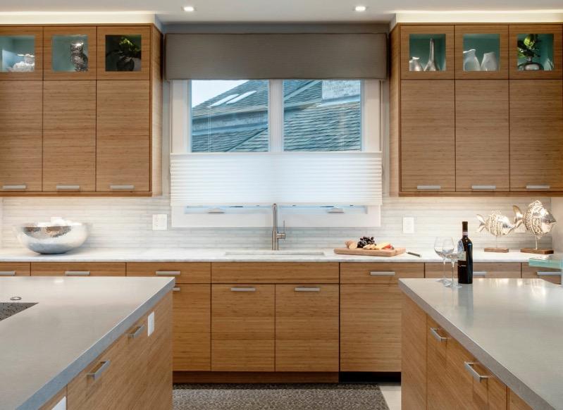 los muebles naturales cambien  van bien en una cocina moderna