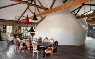 Idea creativa de un dormitorio con curvas de fibra de carbono elegante