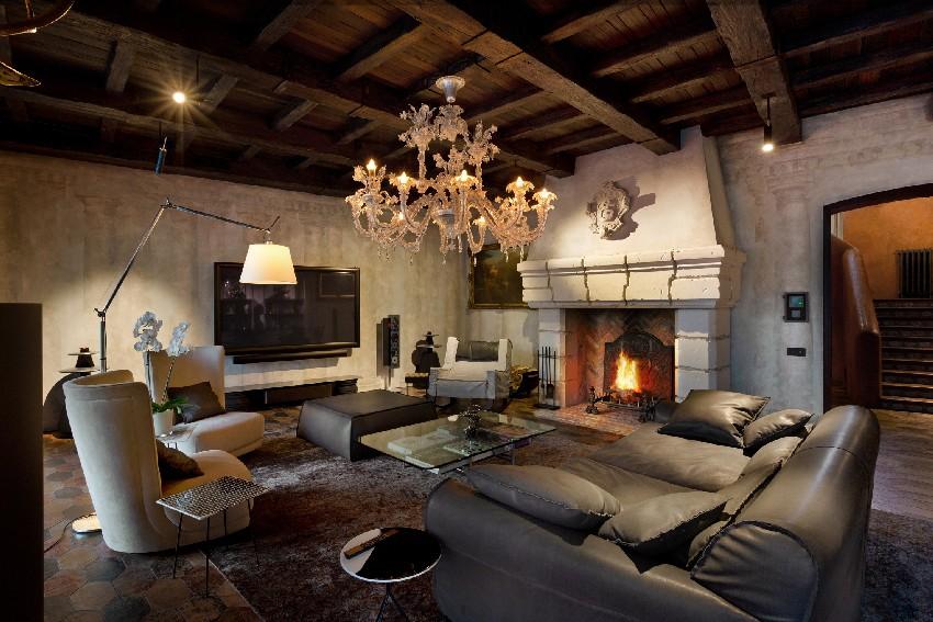 Una perfecta sala con su chimenea
