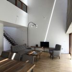 Planos de casa de tres pisos en terreno pequeño, incluye una fachada moderna y diseño de interior