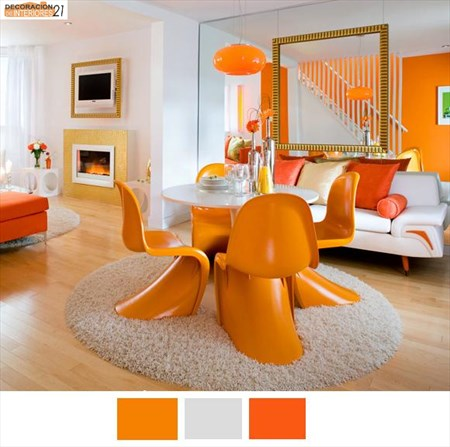 Decoración energética con color naranja