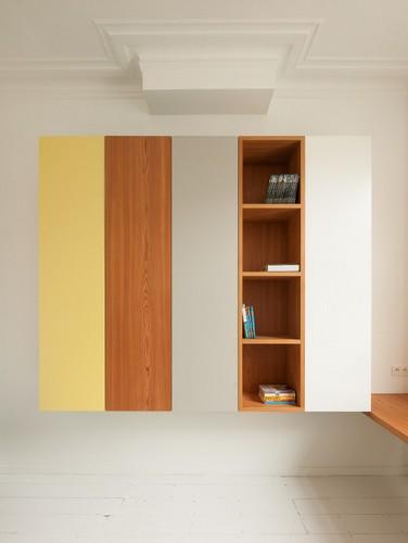Colorido apartamento en colores citricos camas en la pared (2)