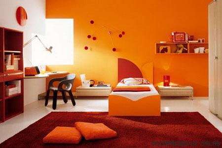 Decoracion infantil color naranja - Base de cama color naranja