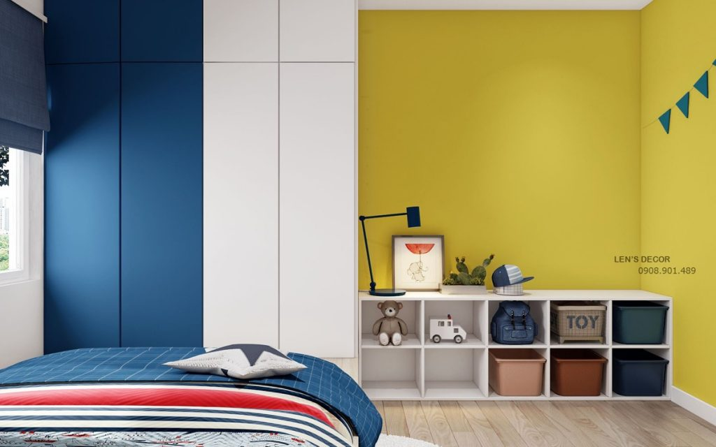 Dormitorio azul y amarillo, dorado y mostaza